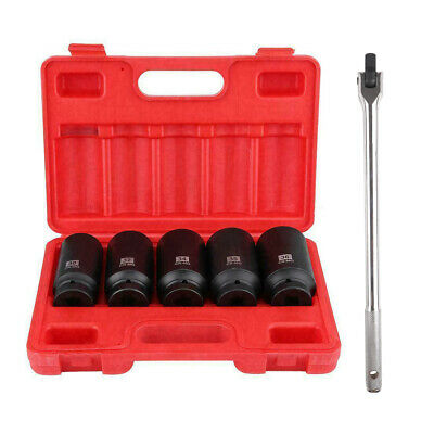 """12 Point 1/2"""" Drive Deep Spindle Axle Nut Socket Set 18"""" Breaker Bar 1/2"""" Wrench"""