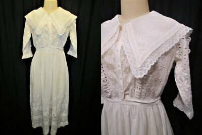 Antique VTG White Cotton Embroidered Afternoon Tea Dress SHEER Edwardian Lace #1