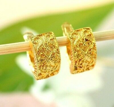 22K Thai Dp Yellow Gold ~ Filigreed Ancient Thai Siam Style Omega Back Earrings