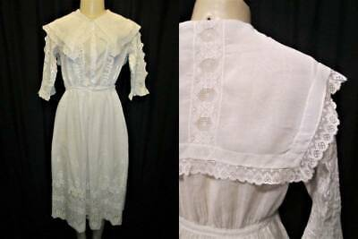 Antique VTG White Cotton Embroidered Afternoon Tea Dress SHEER Edwardian Lace #2
