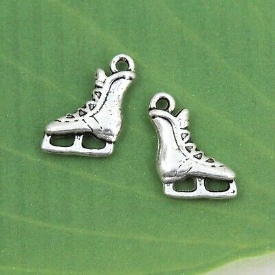 BULK 20 Ice Skate Charms Antique Silver Tone 2 Sided Top Quality SC4098
