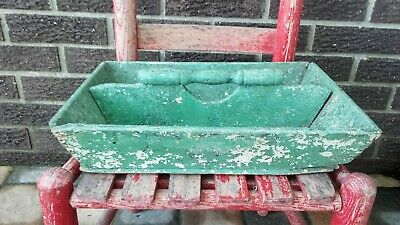 Best Antique Primitive Old Green Paint Wood Cutlery Box Tote   Aafa