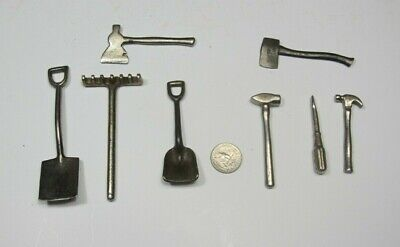 Lot of 8 Vintage ARCADE MINITURE TOYS TOOLS nickel plated cast iron 1920's