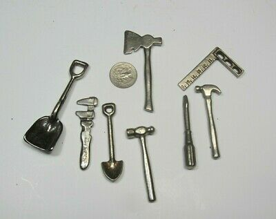 Lot of 8 Vintage ARCADE TOYS TOOLS nickel plated cast iron 1920's vintage