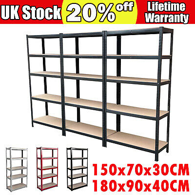 5 Tier Steel Metal Shelving Racking Industrial Garage Shed Home Shelf Heavy Duty