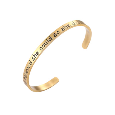 Brand New She Believed She Could So She Did Rose Gold Colour Open Cuff Bracelet