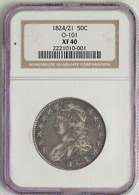 1824/1 50C Capped bust Silver Half Dollar, O-101, NGC XF 40