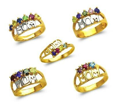 14K Solid Two Tone Gold Mom Multi Color CZ Fancy Mothers Ring Size 7