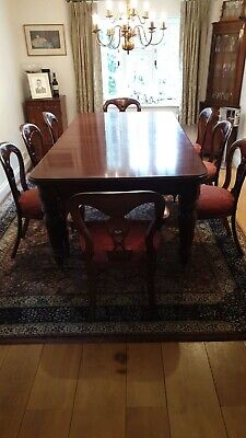 Antique Victorian Mahogany Crank Handle Extending Dining Table With 8 Chairs