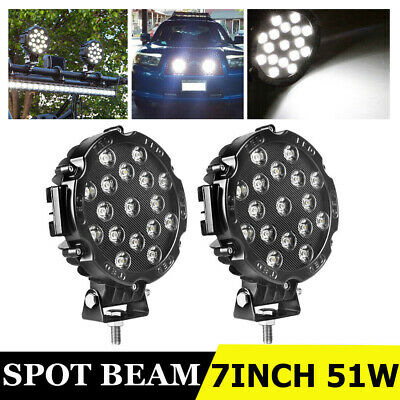 """1X 7"""" 51W 17 Led Work Lights Offroad Bumper Fog Pods Round Tractor ATV 4WD SUV"""