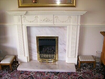 Vintage Antique Wooden Fire Surround + Marble hearth & back