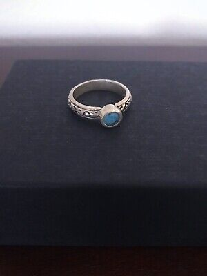 Old Sterling Silver Patterned Ring With Turquoise Colored Stone