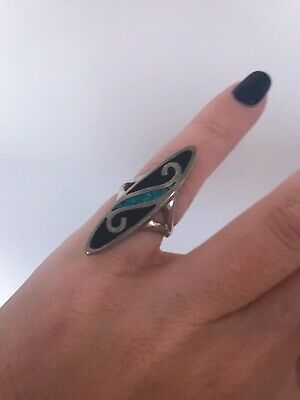 Old And Large Sterling Silver Patterned Stone Design Ring