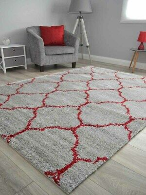 Silver Grey Red Small Extra Large Soft Thick Trellis Shaggy Floor Mat Rugs Cheap