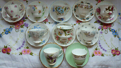 VINTAGE ENGLISH CHINA TEA CUPS & SAUCERS x 10 ~ MIS MATCHED, PRETTY PASTEL HUES