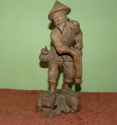 Vintage Antique Japanese Wooden Hand Carved Figure Height:10 Inches.