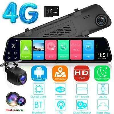 4G Android 8.1 Car DVR GPS Navigation Rearview Mirror Dash Cam 16GB Touch screen
