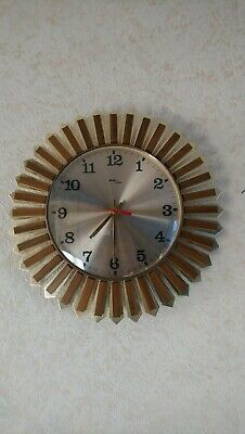 Avia Brass Teak Sunburst Starburst Wall clock vintage retro second hand working