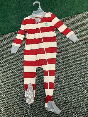 Burts Bees Baby 100% Cotton Sleeper PJS Size 12 Mth Red/cream Rugby Stripe NWT