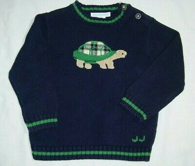 Janie & Jack Boys 18 24 Mos TURTLE Sweater Navy Blue Green Plaid Pull Over Knit