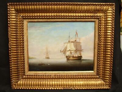 FINE 19th Century British Naval Scene 'Frigate at anchor'  Antique Oil Painting