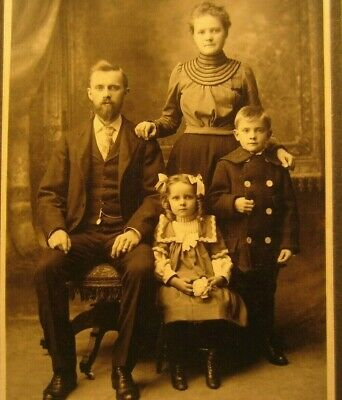 Edwardian Antique Cabinet Card Photo of a Family Father Mother Children