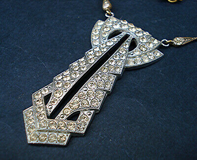 ART DECO LARGE UNUSUAL PASTE PENDANT NECKLACE Vintage 1920s Scalloped Chain