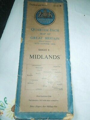 Vintage Ordnance Survey Map. England & Wales. Midlands, Sheet 8. 1946.
