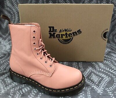 New DR.MARTENS Doc 1460 Pascal Salmon Pink Virgina Leather Boots Womens 7 8 US