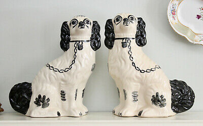 A Sweet Pair of Vintage Staffordshire Spaniels or Wally Dogs, Black and White