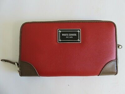 Roots Canada Wallet Red Brown Faux Leather Clutch Bag
