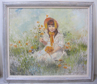 Vintage Original Oil Painting Young Girl Portrait Daisies Flowers Signed Listed