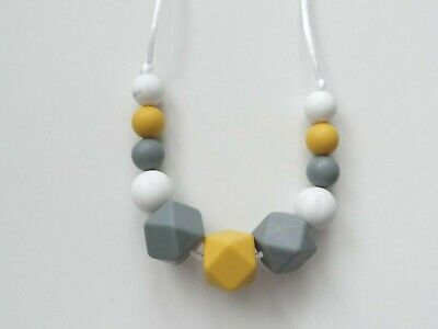 Silicone Teething Necklace Nursing Breastfeeding Sensory BPA Free Mustard & Grey