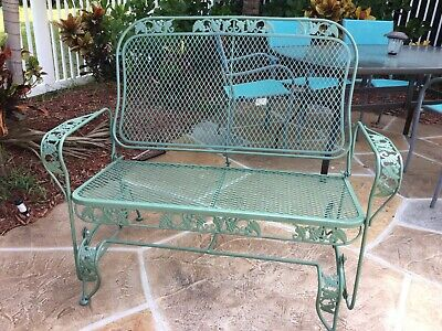 Vintage Woodard Wrought Iron Floral Patio Garden Outdoor Glider Bench/Loveseat