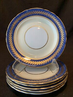 "Aynsley England 1846 Bread Plates 6 3/8"" Dia Gold Powder Blue Laurels Set of 6"