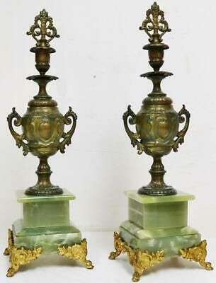 Pair Of Antique French Side Candlesticks Gilt Metal & Onyx Clock Garnitures