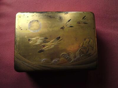 Antique Japanese Meiji Gold Lacquer Box Swallow Birds Moon above Sea wave Signed