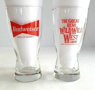 Budweiser King Of Beers The Great Reno Wild Wild West Show Harrahs 1995 Glasses