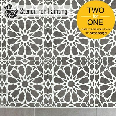 ZAGORA Moroccan Mosaic Tile - Furniture Wall Floor Stencil for Painting