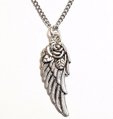 """ANGEL WING & ROSE_Pendant on 18"""" Chain Necklace_Fairy Feather Bird Silver_183N"""
