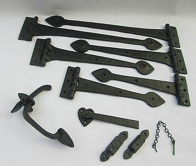 Old English Cast Iron Suffolk Cottage Latch + Spear Head Door Gate Tee T Hinges