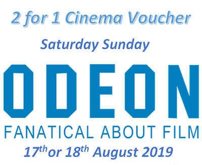 2 for 1 ODEON Movie Code Sat 17th Aug or Sun 18th Aug 2019 Online Only