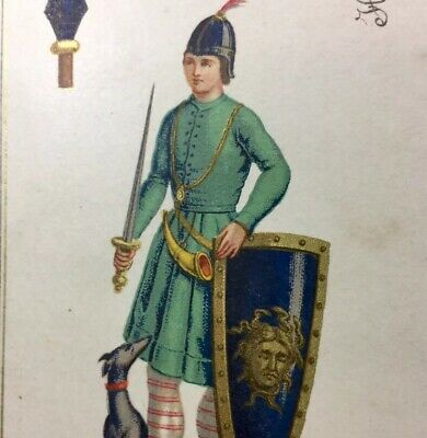 c1868 Chromolithographic Masterpiece Antique Playing Cards Pike Court Single
