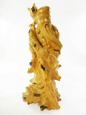 """Vintage Chinese Burl Wood Carved Figure Cao Guojiu Immortal  8"""" Base Stamped"""
