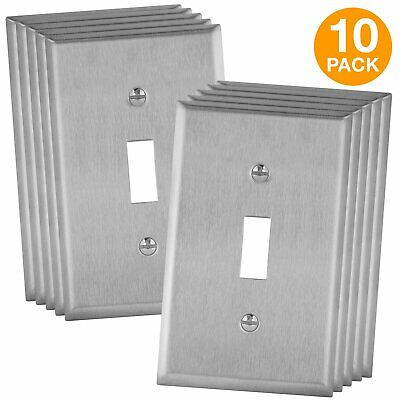 ENERLITES Toggle Switch Covers Stainless Steel Metal Wall Plates 10 Pack