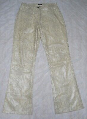 Y2K Blues Pleather/Poly Snakeskin Pants, Sz. 9/10, Cream-Color  Pattern, Cool!