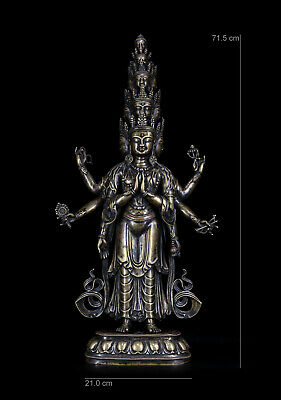 "28"" China Qing Dynasty antique Tibet bronze Eleven sides guanyin Buddha statue"