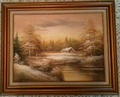 Original Oil Painting By Whilman, River, Forest, House, Winter