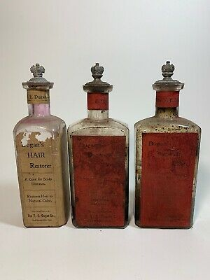 ANTIQUE VINTAGE APOTHECARY PHARMACY BOTTLES WITH STOPPERS Lids LOT OF 3 MEDICINE