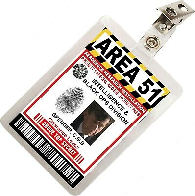 Cigarette Smoking Man XFiles Area 51 ID Badge Costume Cosplay Prop Name Tag XF-5